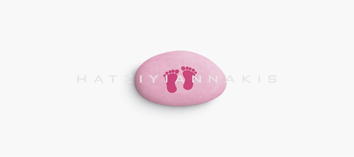 τυπωμένο κουφέτο πατουσάκια ροζ